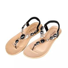 JUST MODEL Womens Summer Style Elastic Tstrap Bohemia Beaded Flat Sandals 7 BM US Black * You can get more details by clicking on the image.