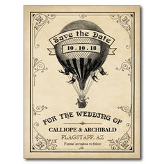 Vintage Hot Air Balloon Wedding Save the Date Postcards