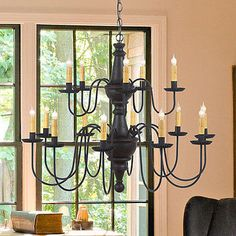 LARGE HARRISON CHANDELIER Primitive Wood & Metal 15 Candle Rustic Ceiling Light Made in USA