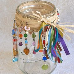 Mason Jar Luminary Beaded Candle Luminary Bohemian by rrizzart Mason Jar Candle Holders, Mason Jar Candles, Mason Jar Crafts, Bottle Crafts, Glade Candles, Wedding Vases, Wedding Decor, Mothers Day Crafts For Kids, Christmas Candles