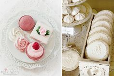 sweet table desserts by Bakingdom left and lace piped cookies right via Hostess With the Mostest