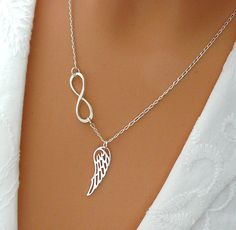 Infinity Angel Wing Necklace - Sterling Silver Wing Infinity Necklace - Memory…