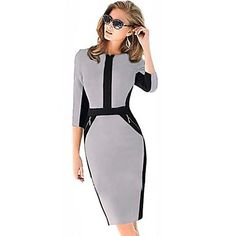 Women's Vintage Blue/Gray/Red Bodycom ½ Length Sleeve Pencil Dress – USD $ 16.99
