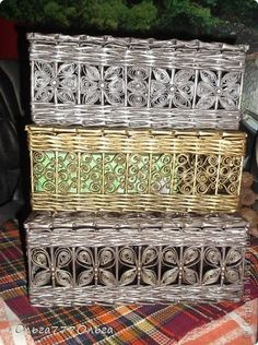 Поделка изделие Плетение Плетеные шкатулки из бумажных трубочек Трубочки бумажные фото 1