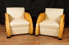 Photo of Pair Art Deco Club Chairs Blonde Walnut Seat 1920s Furniture