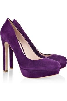 Violet suede pumps with a heel that measures approximately 5 inches and a 1 inch platform. Miu Miu pumps have a round toe and simply slip on. Purple Pumps, Purple Suede, Purple Haze, Suede Platform Pumps, Suede Shoes, Miu Miu Heels, Shoes Too Big, Prom Shoes, Shoe Collection
