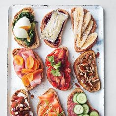 bruschetta-Spinach+egg, Raspberry jam+aged goat cheese, banana+coconut oil, ham+dried apricots, tomato+bacon+basil, Maple Syrup+flaxseeds+Pecans, Grapes+Almonds+cheese, Smoked Salmon+Scallions, Grainy Mustard+Salami+Cucumber