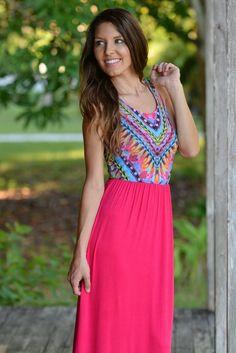 Pink Tribal Maxi Dress Shop Simply Me Boutique – www.shopsimplyme.com