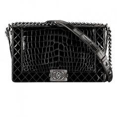 Chanel Chanel black alligator leather Boy Chanel flap bag