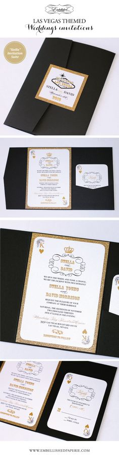 Las Vegas Wedding Invitations in Black, White and Gold Glitter. Pocket fold style invitation. Colors can be customized to coordinate with your event. Playing card style invitation that can be customized for any event. www.embellishedpaperie.com