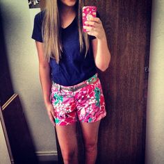 Lilly Pulitzer Shorts, and a Navy T-Shirt- for some reason I think this girl's body looks exactly like Lyndsey's. and her hair.