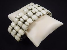 Vintage White Milk Glass Bracelet Wide with 3 by BijouxBaubles, $38.00
