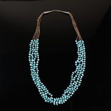 Navajo tribal FOUR strand quality turquoise bead shell heishi necklace old pawn