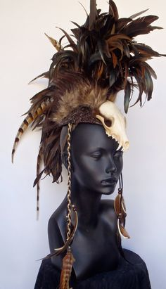 MADE TO ORDER Midsize Skull Warrior Feather Mohawk. $350.00, via Etsy.