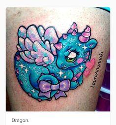 Dragon Tattoo by Laura Anunnaki Baby Dragon Tattoos, Unicorn Tattoos, Baby Tattoos, Girly Tattoos, Animal Tattoos, Love Tattoos, Beautiful Tattoos, Body Art Tattoos, New Tattoos