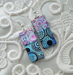 Dichroic Earrings Glass Earrings Fused Glass by GalaxyGlassStudio