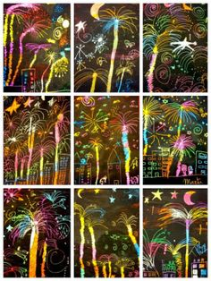 Happy new year! Easy craft for a new year's party. Get the scratch art paper and let the kids make their own fireworks! Happy new year! Easy craft for a new year's party. Get the scratch art paper and let the kids make their own fireworks! Bonfire Night Crafts, Bonfire Night Ks2, Kratz Kunst, Arte Elemental, Fireworks Art, Firework Art Ks1, Firework Nails, Wedding Fireworks, January Art