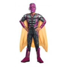 Vision Muscle Chest Kids Costume Price: $38.00  From Captain America: Civil War this deluxe Vision costume includes a padded printed jumpsuit with sculpted muscles attached cape and mask.  Perfect for your favorite Captain America comic book or The Avengers fan for Halloween or cosplay.  Officially Licensed Marvel Costume from The Avengers.  #cosplay #costumes #halloween