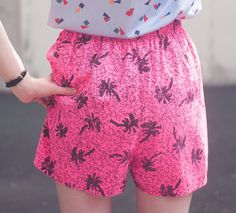 Rad 1980's Neon Pink HighWaisted Shorts w/Palm by PenguinCoast
