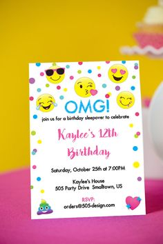 Omg emoji birthday party ideas for the best birthday party ever emoji birthday invitation instant download printable emoji party invitation by printable studi stopboris Choice Image