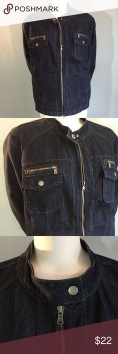 """Christina Zinn Denim Jacket In good condition, this jean jacket is 76% cotton / 22% polyester / 2 % spandex. Machine wash cold. Bust measures 56"""" length of jacket from shoulder to hem 25"""" sleeve length 17.5"""" from pit to hem. Christiana Zinn Jackets & Coats Jean Jackets"""