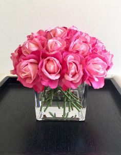 Real Touch Rose Arrangement Pink Rose Arrangement Hot by Flaural Best Roses, Faux Flower Arrangements, Hot Pink Roses, Rose Centerpieces, Canopy Outdoor, Outdoor Parties, Canopies, Faux Flowers, Bloom