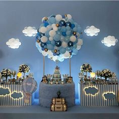 Magical way to decorate a party . Birthday Balloon Decorations, Baby Shower Decorations For Boys, Boy Baby Shower Themes, Baby Shower Balloons, Baby Shower Gender Reveal, Baby Shower Centerpieces, Baby Shower Parties, Baby Boy Shower, Baby Showers