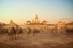 Strange sights: Soldiers on camels in Horse Guard's Parade