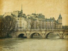Seine.Pont Neuf in Central Paris, France. Photo in Retro Style. Paper Texture. Photographic Print by A_nella at Art.com