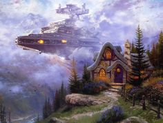 Star Wars Characters Invade Thomas Kinkade Paintings - My Modern Met