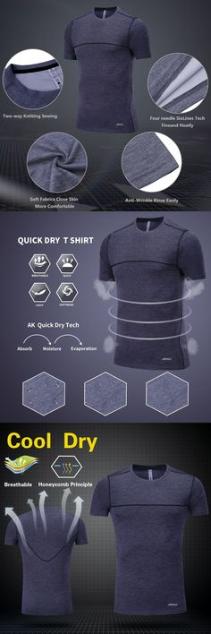 Men's Running T Shirt Fitness Sports Akilex Quick Dry Comfort Workout shirts Bodybuilding Exercise Top Tees