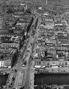 the Old Drone: O Connell Street Dublin 1952 Aerial Photos … | Flickr Dublin Ireland, Ireland Travel, Dublin City, Traffic Light, Main Street, Old Photos, City Photo, 1950s, Old Things