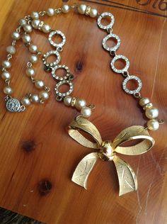 Upcycled Vintage Gold Bow Rhinestone Assemblage Necklace,OOAK,Repurposed,Vimtage Pearls necklace on Etsy, $62.00