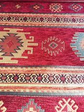 By the meter TURKISH ANATOLIAN KILIM DESIGN CHENILLE FABRICS-KIBRIS RED