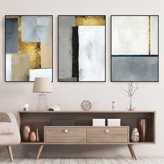 Set of 3 wall art geometric art acrylic paintings on canvas framed wall art abstract gold leaf original black and white painting - 3 pieces of original abstract gold leaf acrylic painting on 3 Piece Wall Art, Wall Art Sets, Acrylic Painting Canvas, Painting Frames, 3 Piece Painting, Frames On Wall, Framed Wall Art, Canvas Frame, Canvas Art