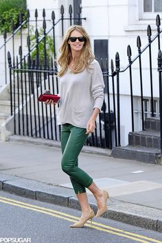 Elle Macpherson colored the streets of London in her green leather cropped pants.                   Source: Bauer-Griffin Online