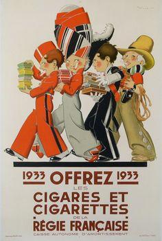 offrez les cigares et les cigarettes de la régie française affiche ancienne : 1933 affiches anciennes de VINCENT René ( René Masel )