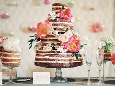 Flower Adorned Naked Wedding Cake