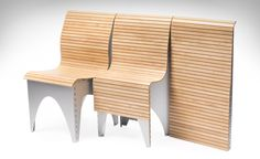 A new kind of collapsible chair, the Ollie combines a unique articulated aluminum body that's contoured with a flexible slatted wood tambour to form a chair resembling a small bench of sorts. Ollie unfurls from its 2.25-inch thin folded form to a full-sized, comfortable chair in an instant, and collapses back down with a pull of the handle and string on its back, eliminating the slight hassle of folding...