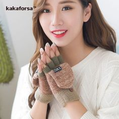 Fashion Winter Women Clamshell Acrylic Fingerless Gloves Multifunctional Cute Warm Patchwork Mittens for Students gants femme-in Gloves & Mittens from Women's Clothing & Accessories on Aliexpress.com | Alibaba Group