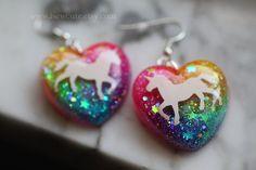 Unicorn Neon Rainbow Glitter Jewelry, Unicorn Earrings, sparkly resin dangle style earrings, rainbow glitter hearts handcrafted by isewcute by isewcute on Etsy Neon Rainbow, Rainbow Unicorn, Making Resin Jewellery, Resin Jewelry, Kids Jewelry, Cute Jewelry, Space Jewelry, Glitter Hearts, Glitter Hair