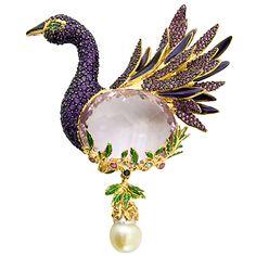 Butler & Wilson Jewelled Bird with Pearl Drop Brooch