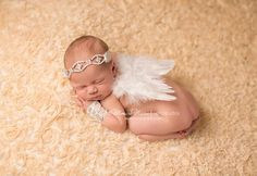 3 PC SET....Newborn Photography Prop, rhinestone headband, angel wings and newborn wristlets,  baby photography prop, vintage headband