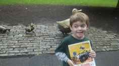 Our son exploring Boston Public Gardens (Make Way for Duckling statues in back). From @davidbcrowley post on instilling a love for reading.