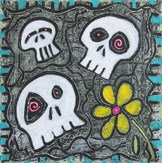 Digging for Skulls is a whimsical artwork created in fun with texture. It is a decorative sgraffito and made for skull collectors. An original work of art by Laura Barbosa. 12×12in. Acrylics and Mo…