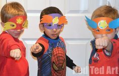 Superhero masks party craft (with templates). We had a lovely time and all the boys made their mask!