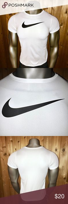 Nike Dri-Fit Swoosh Active Men's Small Shirt Size: U.S. Boy's XL/ Men's Small (Same Size measurements) Color: White/Black Nike Dri-Fit Series 100% Polyester Made in El Salvador  Excellent Condition! No rips, stains, tears, pulls, pills or fading  Shirt comes from a smoke and pet free home  Thanks for looking! Nike Shirts Tees - Short Sleeve