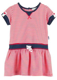 Available for toddler and little girls this drop waist dress takes inspiration from the always in style nautical kids styles with red and white striping and navy blue accents.  With nautical stripes in red, white and blue this sailor themed dress has lots of patriotic flair that's perfect for the 4th of July!