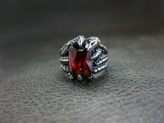 Dragon Claw Red Crystal Classic Silver Ring For Harley Davidson Motor Biker 84