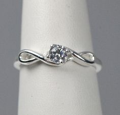 Sterling Silver Infinity CZ Promise Ring Sterling Silver / 6, - Sparkle & Jade - 2